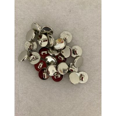Remnant -25 x Round Plastic Silver Buttons With Shank - 11.4mm - Old Stock