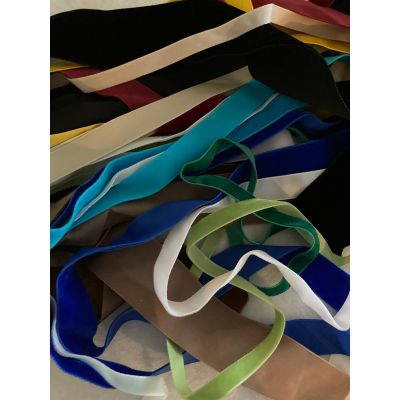 Remnant - Velvet Ribbon Trims (colours as image) - various widths and lengths - 10 metres approx