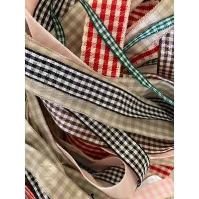 Remnant - Gingham Ribbon Trims (colours as image) - various widths and lengths - 10 metres approx