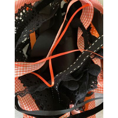 Remnant - Orange and Black Halloween Tones Ribbon Trims (colours as image)-  10 metres approx