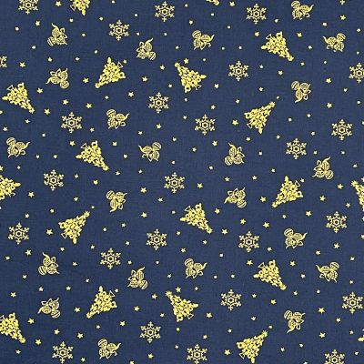 Cotton Fabric - Gold Trees On Navy