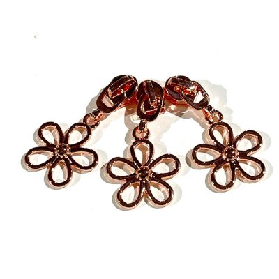 Metal Replacement Zip Pull - For #5 Nylon Zips - Rose Gold Wire Flower Metal Pull