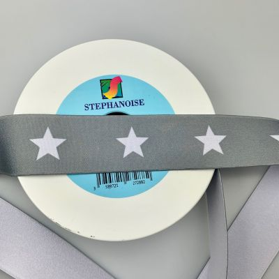 Star Print Belting Elastic 40mm Wide - White Stars On Grey