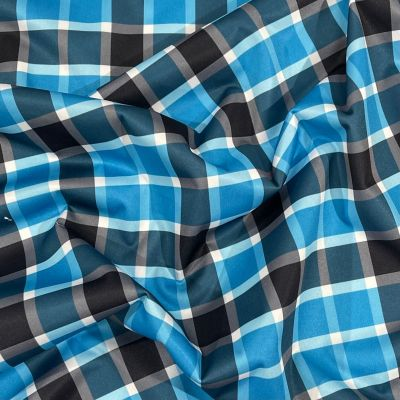 Plush Addict Blue Plaid Patterned PUL Fabric (Polyurethane Laminate fabric) - Waterproof Breathable Fabric