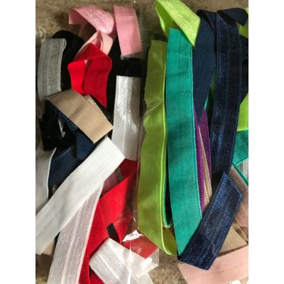 Remnant Fold Over Elastic Bundle: Minimum of 5 Various Colours: Lucky Dip - 5m approx
