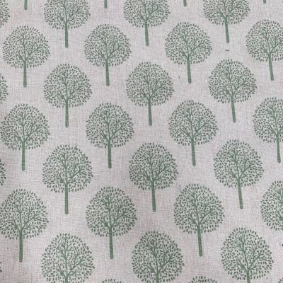 Cotton Fabric - Linen Look Canvas - Green Trees On Natural