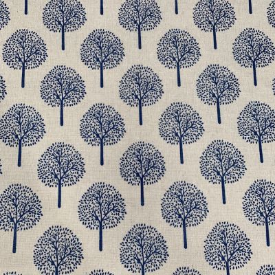 Cotton Fabric - Linen Look Canvas - Blue Trees On Natural