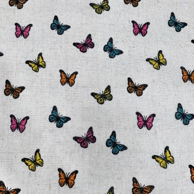 Cotton Fabric - Linen Look Canvas - Butterflies On Natural