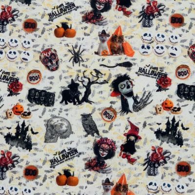Cotton Fabric - Halloween Pumpkin Cats