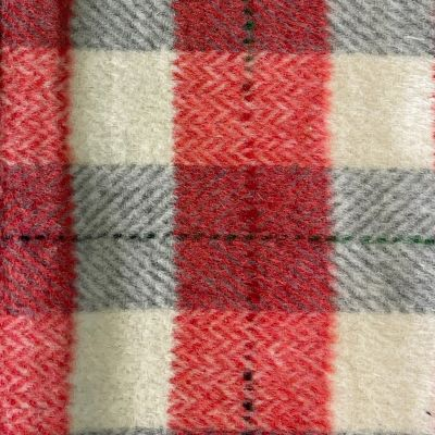 Checkered Wool Blend Coating - Red