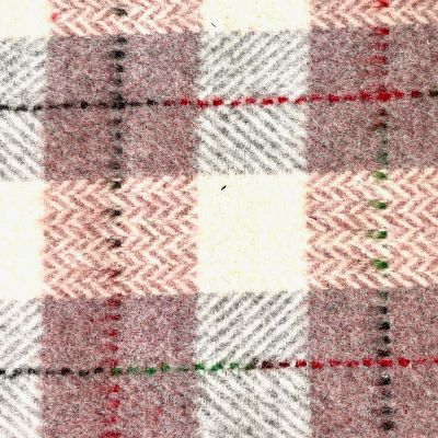 Checkered Wool Blend Coating - Pink