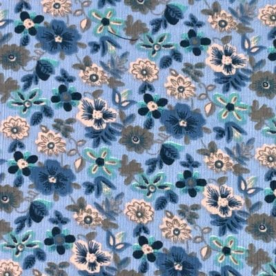 Cotton Baby Corduroy Fabric - Blue Floral