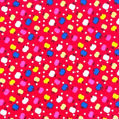 Cotton Baby Corduroy Fabric - Apples On Red