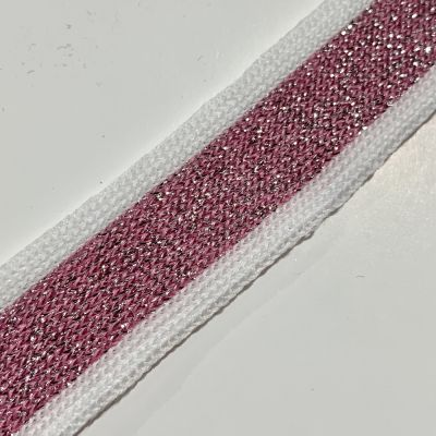 Soft Metallic Knit Webbing 20mm Wide - White And Pink