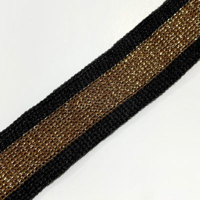 Soft Metallic Knit Webbing 20mm Wide - Black And Dark Gold