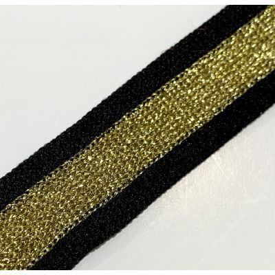 Soft Metallic Knit Webbing 20mm Wide - Black And Gold