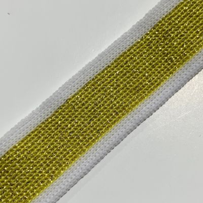 Soft Metallic Knit Webbing 20mm Wide - White And Gold