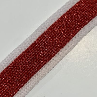 Soft Metallic Knit Webbing 20mm Wide - White And Red