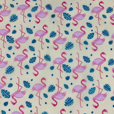Polycotton Fabric - Flamingos On Yellow