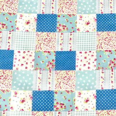 Polycotton Fabric - Blue Patchwork