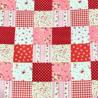 Polycotton Fabric - Red Patchwork