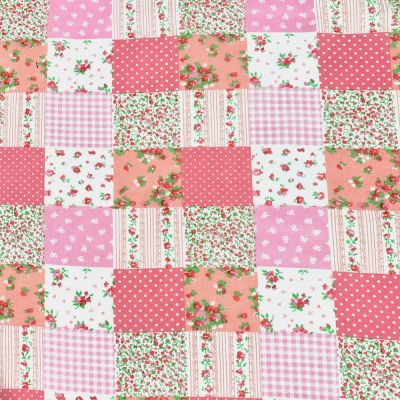 Polycotton Fabric - Pink Patchwork