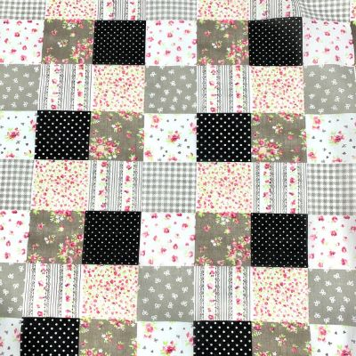 Polycotton Fabric - Black Patchwork