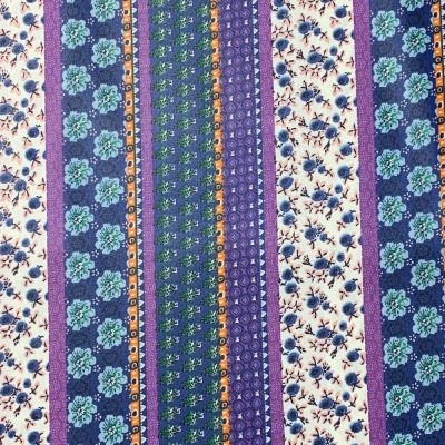 Waterproof Cotton Fabric - Purple Floral Stripe - Per Metre