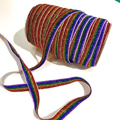 Colourful Sparkly Elastic 16mm Wide - Rainbow Pride