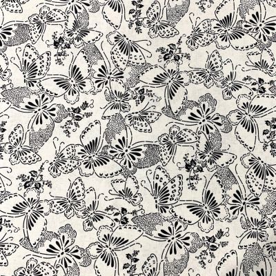 Nutex - Extra Wide Fabric - Butterflies Black On White