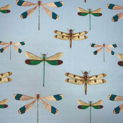 Digital Print Medium Weight Decorative Upholstery Fabric - Dragonflies On Blue