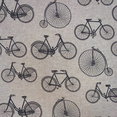 Digital Print Medium Weight Decorative Upholstery Fabric - Bicycles On Natural