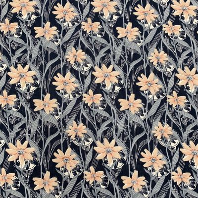 Cotton Lawn - Large Daisies On Navy
