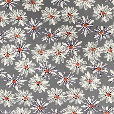 Cotton Lawn - Abstract Blooms On Silver