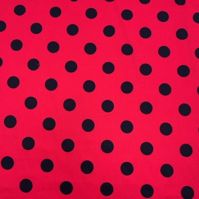 Remnant - Stretch Cotton Fabric - Black Spots On Red - 150cm x 145cm