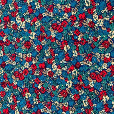 Cotton Lawn - Dark Teal And Red Floral