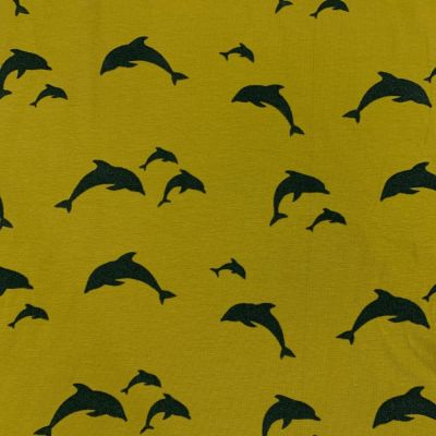 Cotton Spandex Jersey - Dolphin Flock On Green