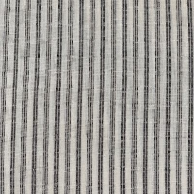 Yarn Dyed Linen Viscose Blend  - Ebony Pin Stripe On White