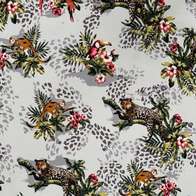 Stretch Cotton Fabric - Jungle Scenes On Ivory