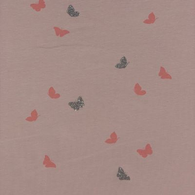 Stretch Cotton Spandex Jersey Knit - Glitter Butterflies On Pink