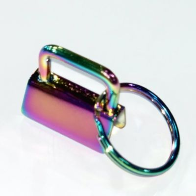 Key Ring - Metal Key Fob Hardware Clasp With Split Ring - 25mm - Rainbow Colour