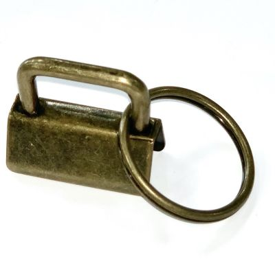 Key Ring - Metal Key Fob Hardware Clasp With Split Ring - 25mm - Antique Brass Colour