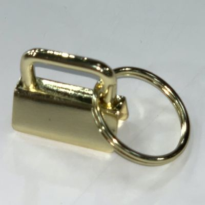 Key Ring - Metal Key Fob Hardware Clasp With Split Ring - 25mm - Gold Colour