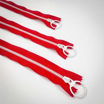 "Dual Colour No. 3 Plastic Chunky Style Zip - Red / White - 16"" / 40cm"