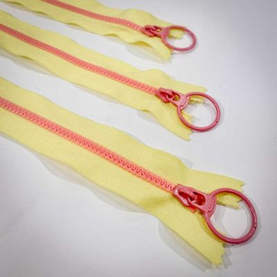 "Dual Colour No. 3 Plastic Chunky Style Zip - Yellow / Pink - 16"" / 40cm"
