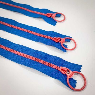 "Dual Colour No. 3 Plastic Chunky Style Zip - Blue / Orange - 8"" / 20cm"
