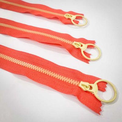 "Dual Colour No. 3 Plastic Chunky Style Zip - Orange / Yellow - 6"" / 15cm"