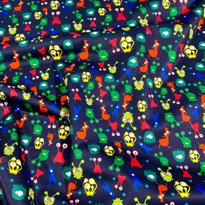 Plush Addict Monsters Print Patterned PUL Fabric (Polyurethane Laminate fabric) - Waterproof Breathable Fabric