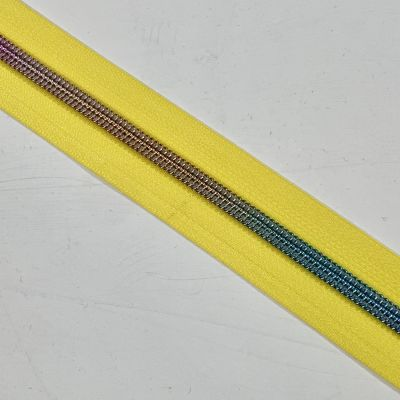 Remnant -Rainbow Teeth Continuous Zip - Yellow - No Pull - 60cm LENGTH