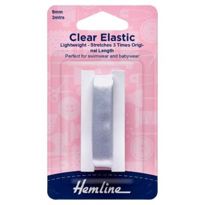 Hemline Swimwear Elastic: 3m x 9mm: Clear